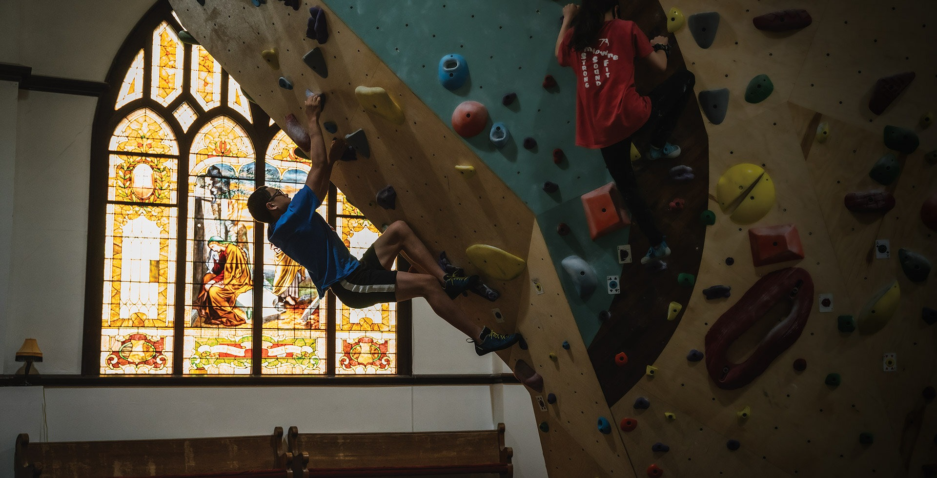 Stained glass isn't the usual décor of climbing gyms, though, at Brimstone Boulders in Hood River, it's a hallmark feature of the space.