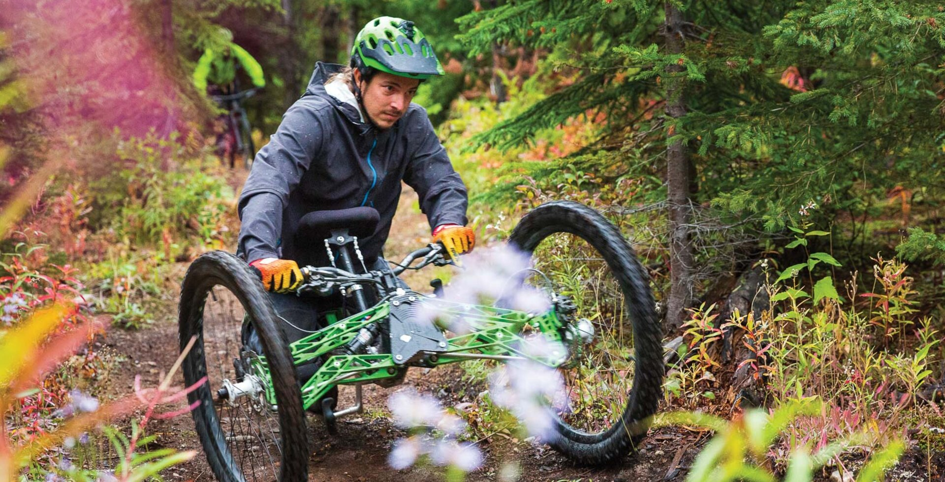 Ethan Keruger digging his wheels into the tacky dirt of the Spine Trail.