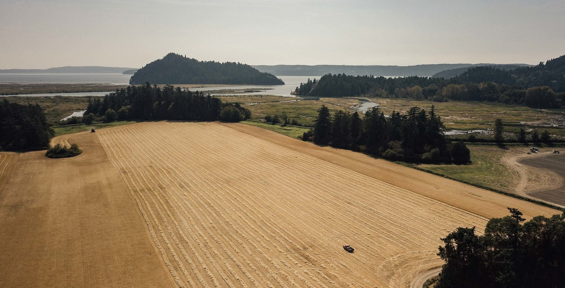 The Skagit Valley and Bay deliver a beautiful backdrop to the region's farmland. From grain to yeast, Garden Path Fermentation strives to source local. Photo courtesy of Skagit Valley Malting